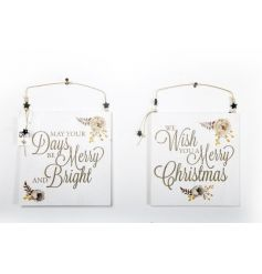 2 assorted Christmas signs with popular slogans , finished with a chic gold floral illustration.