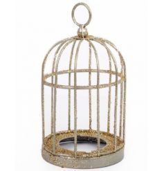 A stunning gold glitter birdcage with t-light holder.