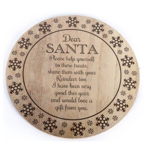 A rustic wooden treat tray decorated with snowflakes and a lovely poem for Santa and his reindeer.