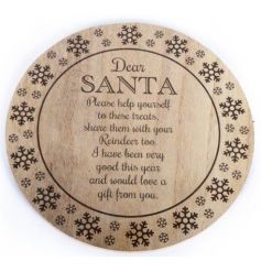 A charming wooden treat plate with poem. For displaying carrots, mince pies and more on Christmas eve!