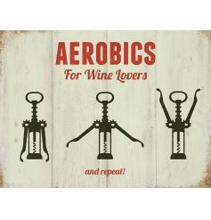 Hanging metal sign with humorous Wine Lovers text and image