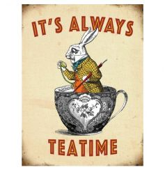 Hanging metal sign with vintage white rabbit design