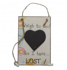 Countdown to your goal weight with this gorgeous heart memo board with chalk attached.