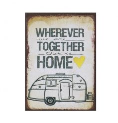Wherever We Are Together That Is Home vintage style magnet with camper van image.