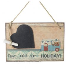 A charming chalkboard countdown with a heart shaped plaque and chalk attached.