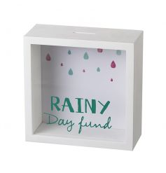 White wooden money box perfect for saving for that rainy day