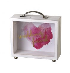 A pretty suitcase style money box with a heart print design and wedding fund slogan.