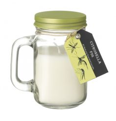 A sweet fig scented citronella garden candle in a mason styled jar.