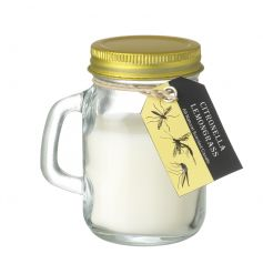 A zesty lemongrass scented citronella garden candle in a mason styled jar