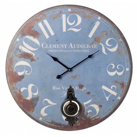 Large Pendulum Blue Wall Clock