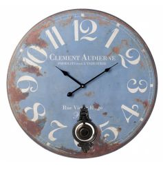 Large blue clock with a distressed style and pendulum
