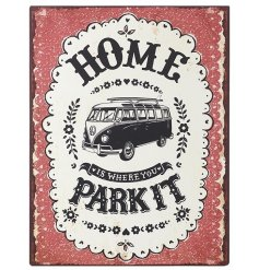 Vintage style camper van sign with popular quote