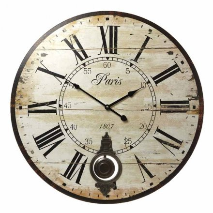 Large Paris Wall Clock With Pendulum 58cm
