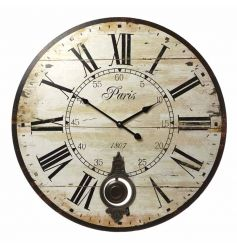 Vintage style pendulum wall clock with distressed finish