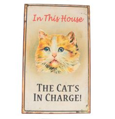 A vintage style and humorous metal sign with cat image.