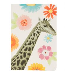 A bright and bold A5 Notebook with giraffe design and floral print.