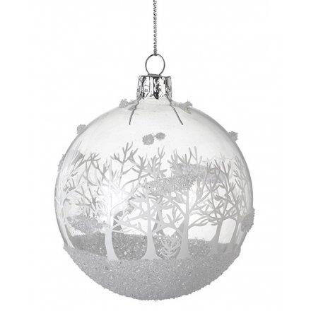 Glitter Christmas Scene Bauble