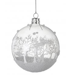 Add some glitz to your tree with the sparkling Christmas scene glass bauble.