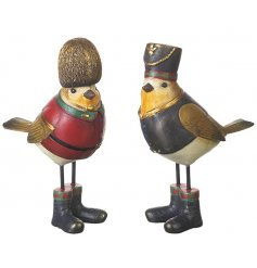 An assortment of 2 dressed bird decorations making the most stylish and charming home accessories.