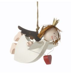 A gorgeous wooden angel decoration with heart and crown. We love it!
