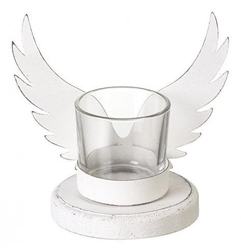 A shabby chic white t-light holder with white metal wings. This item has a rustic, distressed finish.