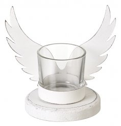 A gorgeous t-light holder with metal angel wings. A shabby chic item for the home.