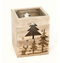 A charming wooden t-light holder with glass centre. The t-light is engraved with a beautiful woodland scene.