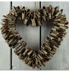 A natural open heart wreath with birch bark. A stunning and unique decorative item for the home.