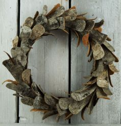 A stunning large wreath made from natural birch bark.