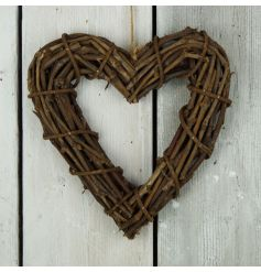 A chunky wooden rattan heart wreath with jute hanger.
