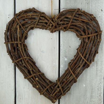 Rattan Heart, 46cm