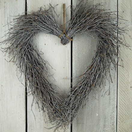 Whitewashed Heart Wreath 50cm