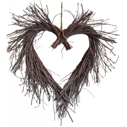 A charming rustic living heart wreath with a white washed finish.