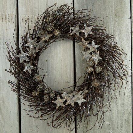 Rustic Glitter Wreath 43cm