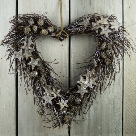 Heart Glitter Wreath, 43cm