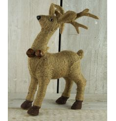 A rustic style standing reindeer decoration with jute and festive bells. A charming home decoration this season.
