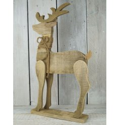 A beautiful large wooden reindeer figure with jute string to finish. A gorgeous rustic item for the home this season.