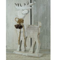 A rustic wooden reindeer decoration with a sparkling gold finish.
