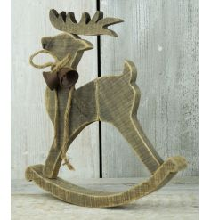 A charming wooden rocking reindeer decoration with a jute string bow and rustic bells.