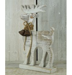 A rustic reindeer decoration with a glitter gold finish and jute string bow. Complete with festive bells.