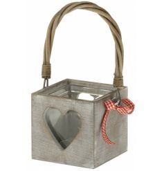 A shabby chic wooden lantern with heart cut out design and red gingham ribbon. Complete with willow handle.