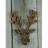 A rustic style bark moose shaped hanging decoration.