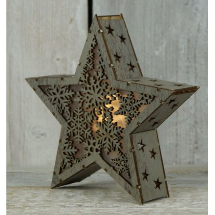 Wooden Light Up Led Star 20cm 29346 Christmas Display And
