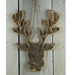 A rustic wooden moose head with a bark finish. A charming festive decoration for the home.