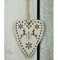 A rustic wooden heart hanger with an intricate reindeer and snowflake design.