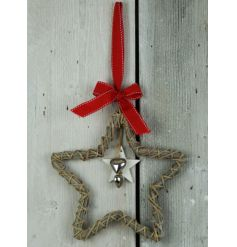 A sweet and simple hanging woven wicker star decoration complete with a red bow hanger and dangling silver heart centre