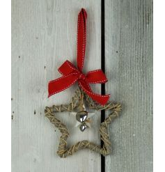 A sweet and simple hanging woven wicker star decoration complete with a red bow hanger and dangling distressed silver he