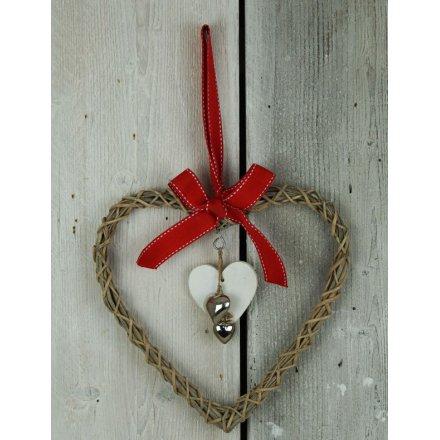 Hanging Wicker Heart With Bells 26cm