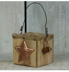 A rustic style t-light holder with an on trend copper star feature and festive bells.