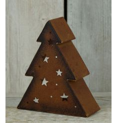 A rustic style t-light holder in the shape of a tree with star details revealing the warm t-light glow.